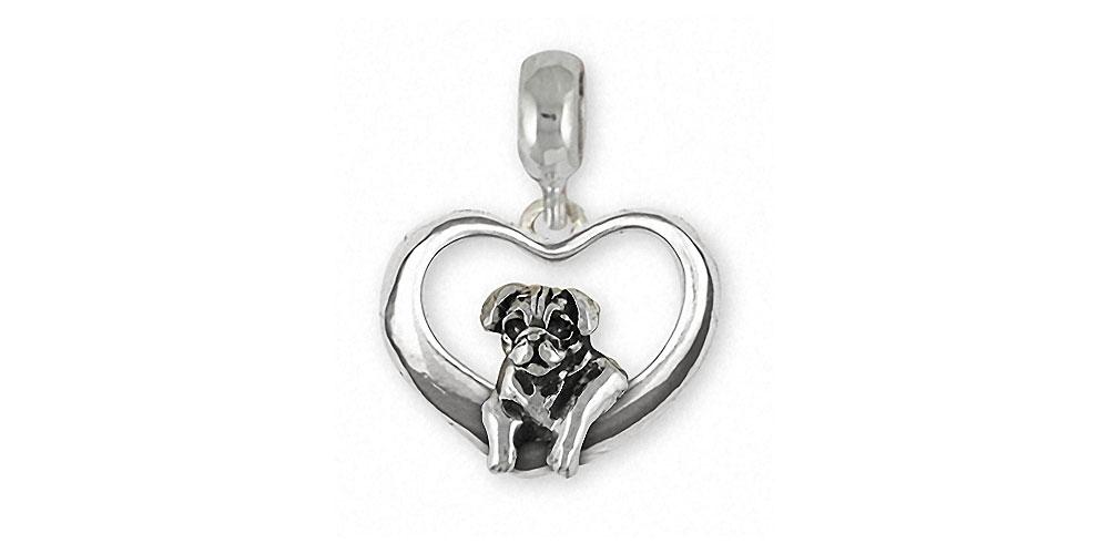 Pug Charms Pug Charm Slide Sterling Silver Dog Jewelry Pug jewelry