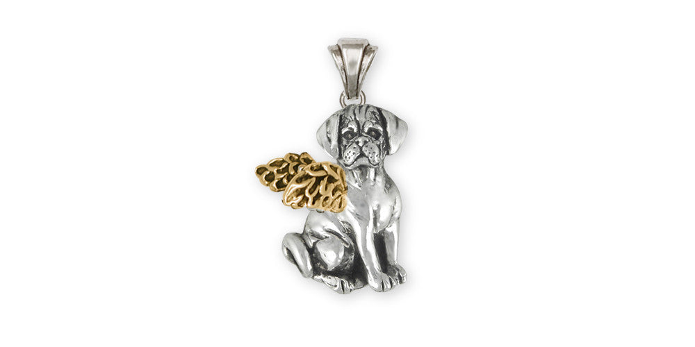 Puggle Angel Charms Puggle Angel Pendant Silver And Gold Dog Jewelry Puggle Angel jewelry