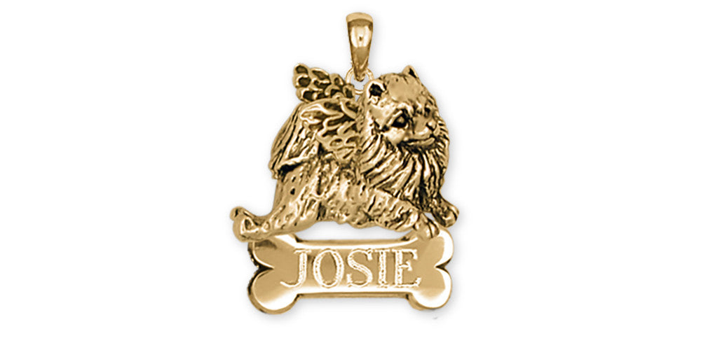 Pomeranian Angel Charms Pomeranian Angel Personalized Pendant 14k Yellow Gold Vermeil Dog Jewelry Pomeranian angel jewelry