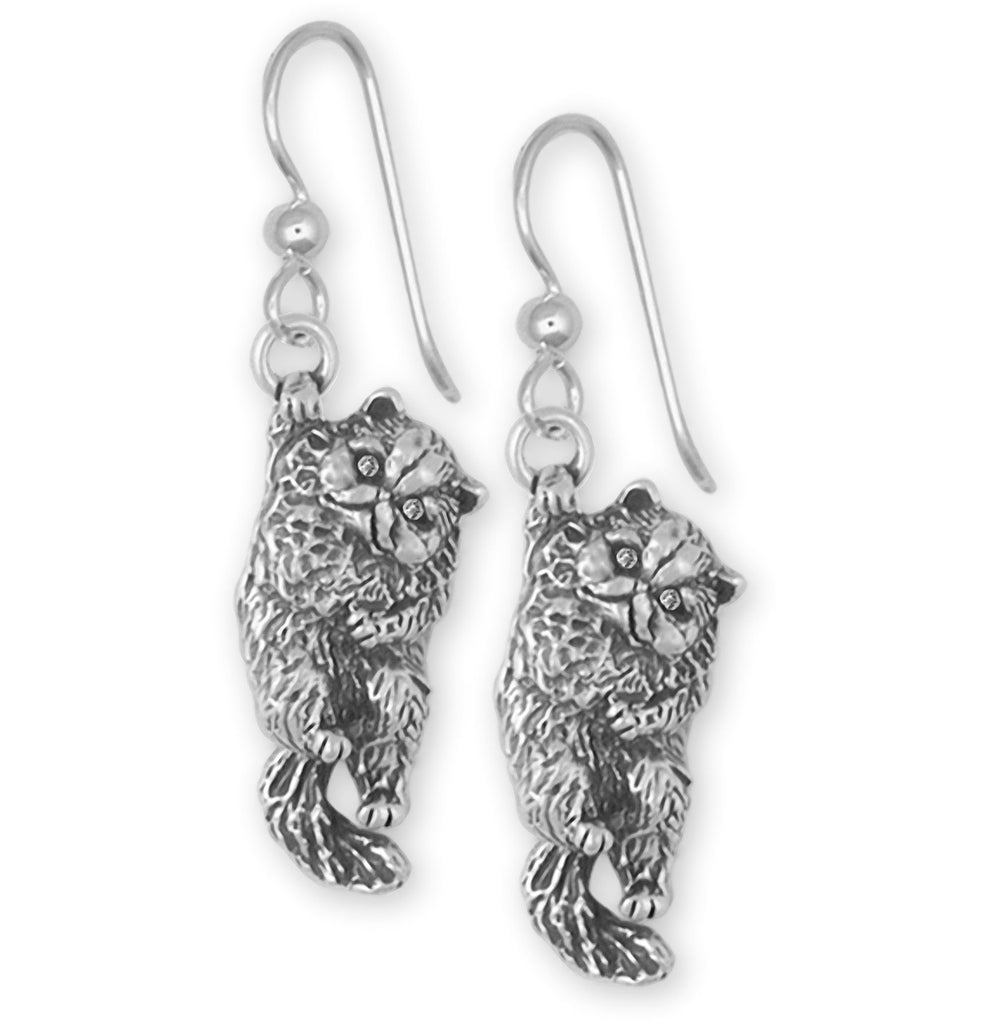 Persian Cat Charms Persian Cat Earrings Sterling Silver Persian Cat Jewelry Persian Cat jewelry