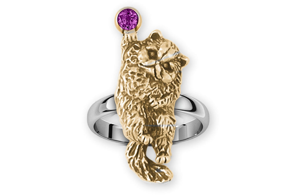 Persian Cat Charms Persian Cat Ring Silver And 14k Gold Persian Cat Jewelry Persian Cat jewelry