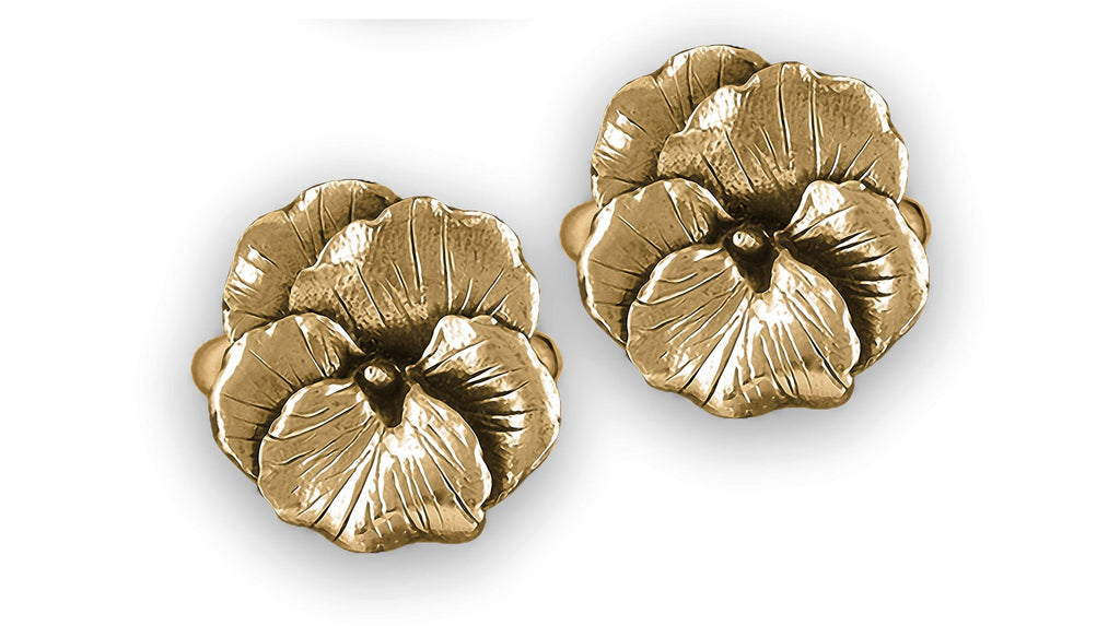 Pansy Flower Charms Pansy Flower Cufflinks 14k Gold Vermeil Pansy Jewelry Pansy Flower jewelry