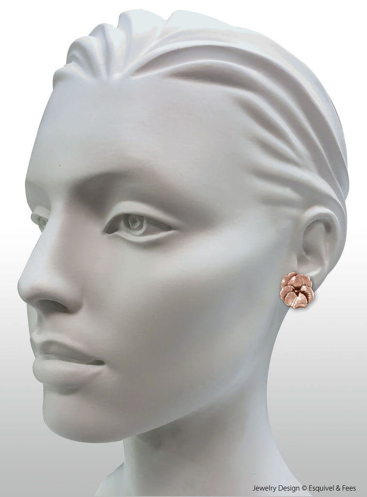 Pansy Flower Jewelry 14k Rose Gold Handmade Pansy Earrings  PSY1-ERG