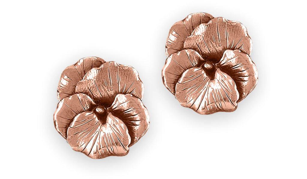 Pansy Flower Charms Pansy Flower Earrings 14k Rose Gold Pansy Jewelry Pansy Flower jewelry