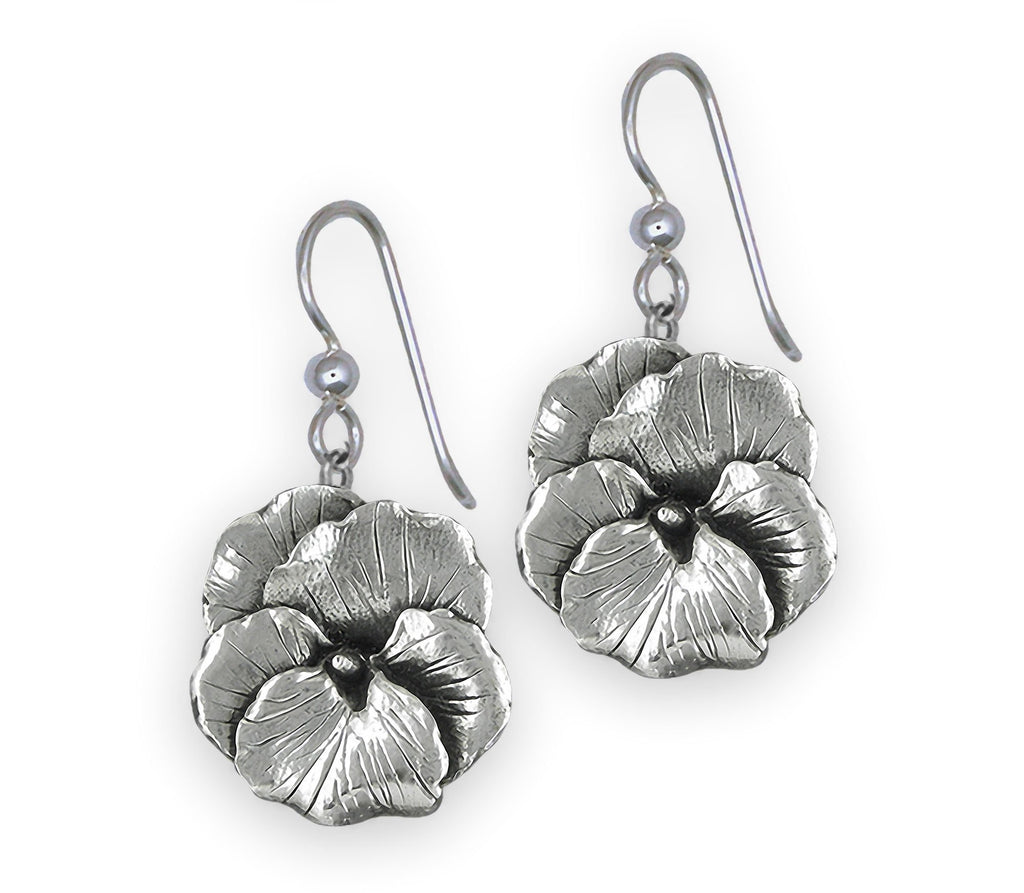 Pansy Flower Charms Pansy Flower Earrings Sterling Silver Pansy Jewelry Pansy Flower jewelry