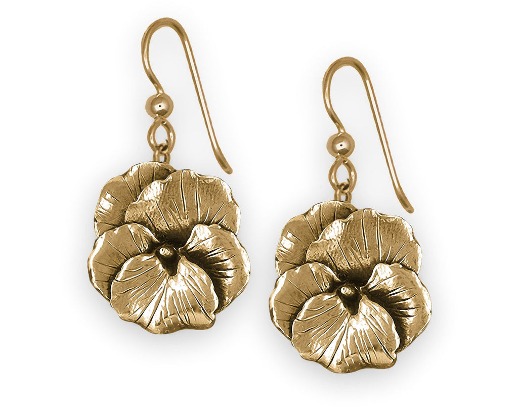 Pansy Flower Charms Pansy Flower Earrings 14k Gold Pansy Jewelry Pansy Flower jewelry