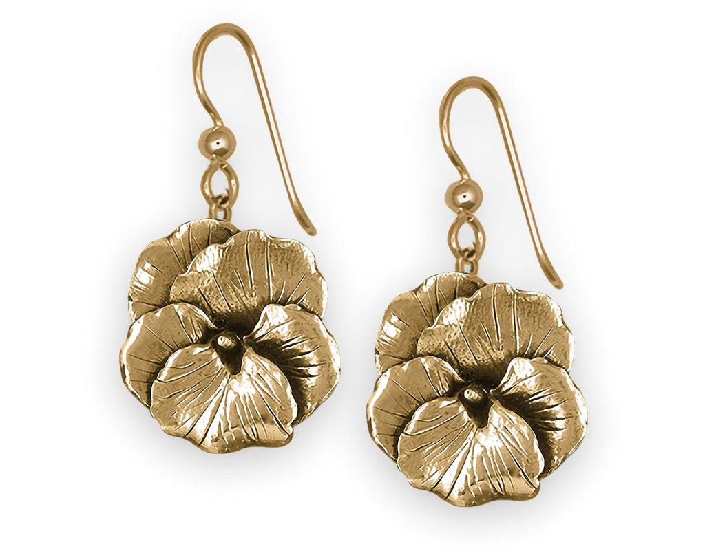 Pansy Flower Charms Pansy Flower Earrings 14k Gold Vermeil Pansy Jewelry Pansy Flower jewelry