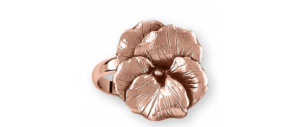 Pansy Flower Charms Pansy Flower Ring 14k Rose Gold Pansy Jewelry Pansy Flower jewelry