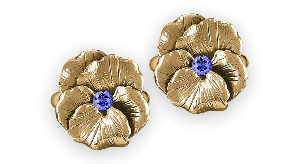 Pansy Flower Charms Pansy Flower Earrings 14k Gold  Pansy Birthstone Jewelry Pansy Flower jewelry