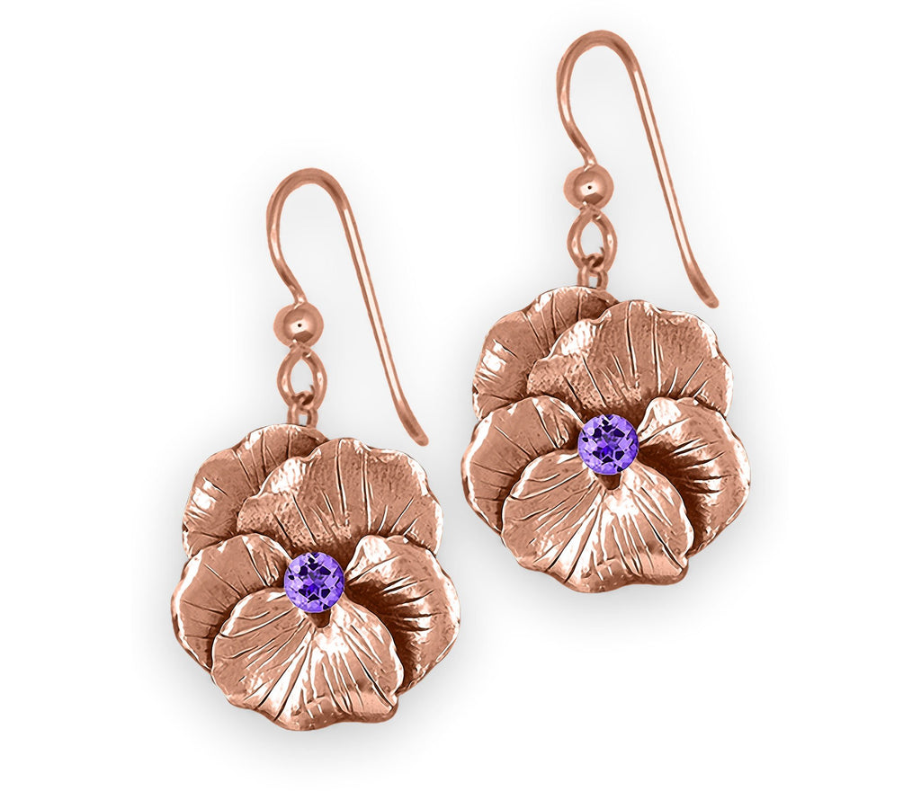 Pansy Flower Charms Pansy Flower Earrings 14k Rose Gold  Pansy Birthstone Jewelry Pansy Flower jewelry