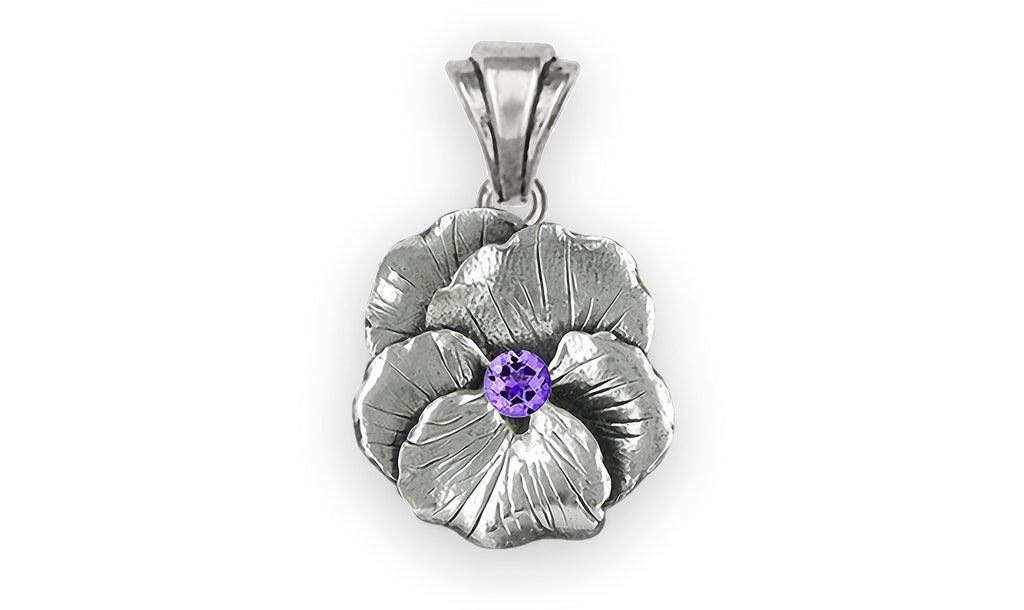 Pansy Flower Charms Pansy Flower Pendant Sterling Silver  Pansy Birthstone Jewelry Pansy Flower jewelry