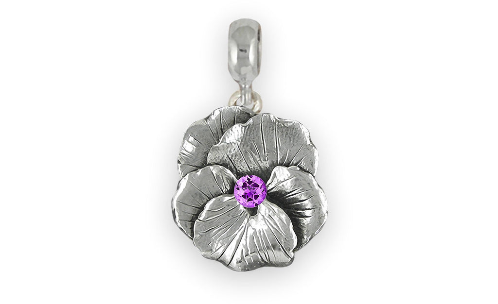 Pansy Flower Charms Pansy Flower Charm Slide Sterling Silver  Pansy Birthstone Jewelry Pansy Flower jewelry
