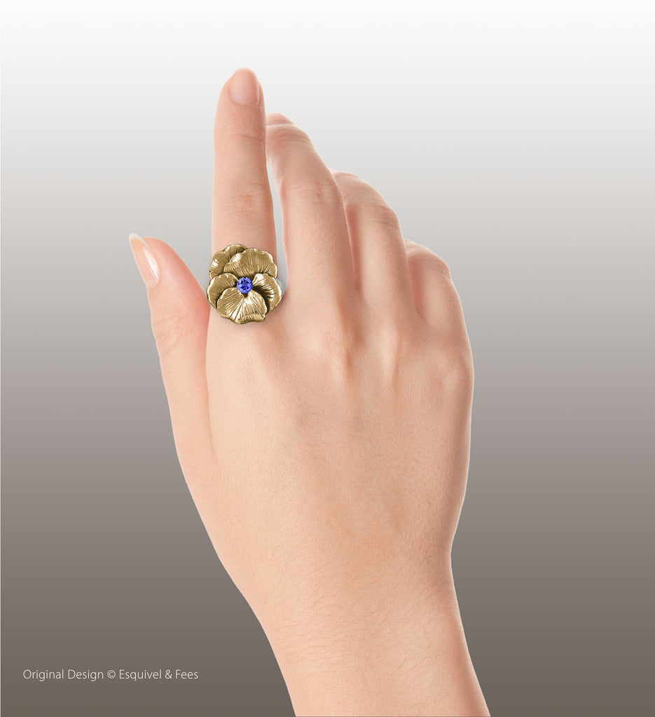 Pansy Flower Jewelry 14k Gold Handmade Pansy Birthstone Ring  PSY1-SRG