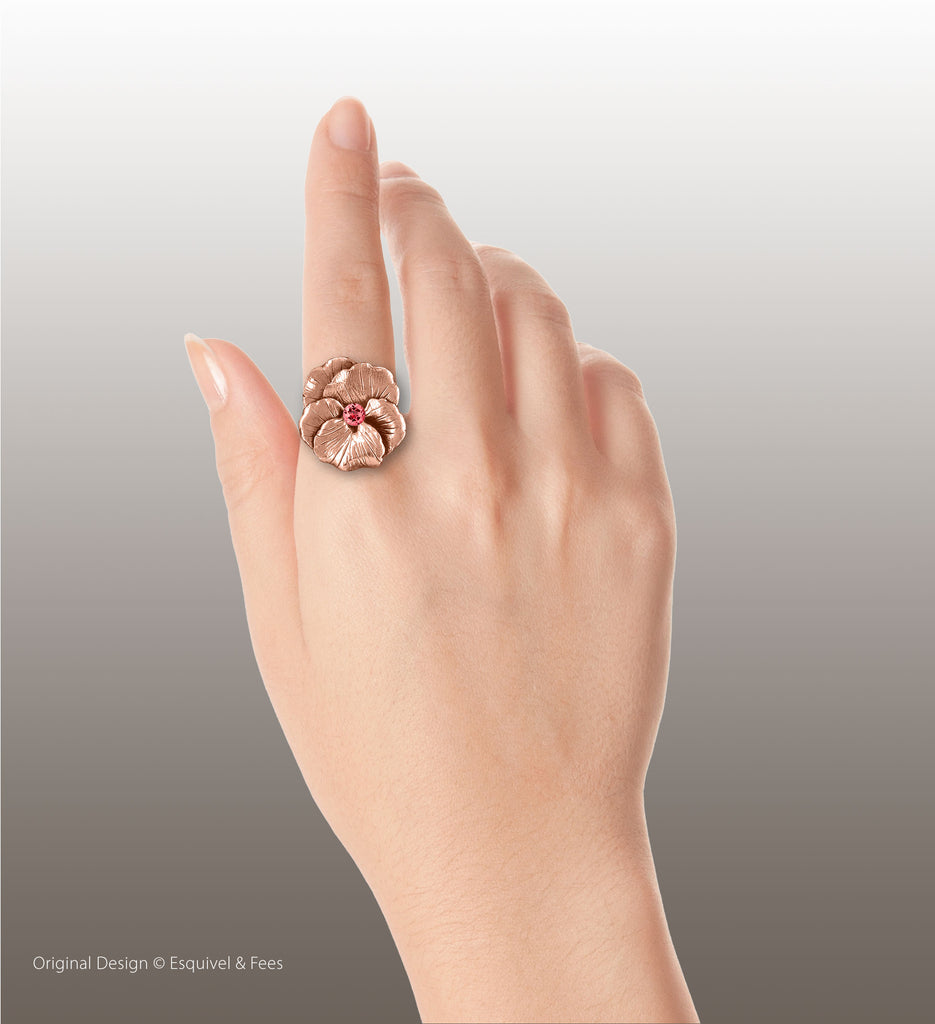 Pansy Flower Jewelry 14k Rose Gold Handmade Pansy Birthstone Ring  PSY1-SRRG