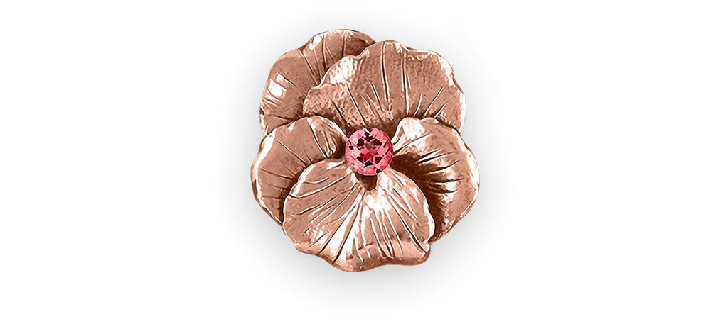 Pansy Flower Charms Pansy Flower Ring 14k Rose Gold Pansy Birthstone Jewelry Pansy Flower jewelry