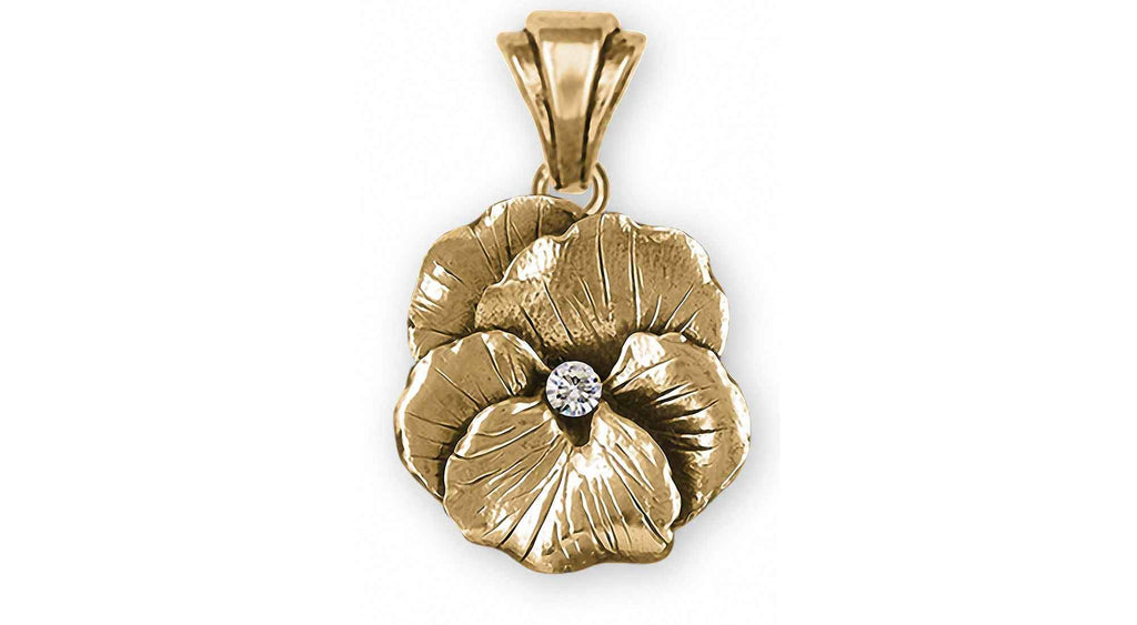 Pansy Flower Charms Pansy Flower Pendant With Diamond 14k Gold Pansy Jewelry Pansy Flower jewelry