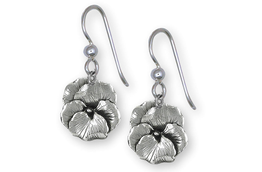 Pansy Charms Pansy Earrings Sterling Silver Pansy Flower Jewelry Pansy jewelry