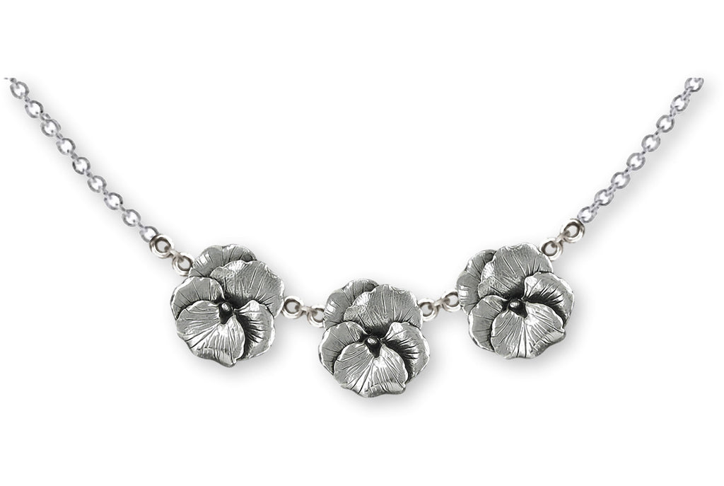 Pansy Charms Pansy Necklace Sterling Silver Pansy Flower Jewelry Pansy jewelry