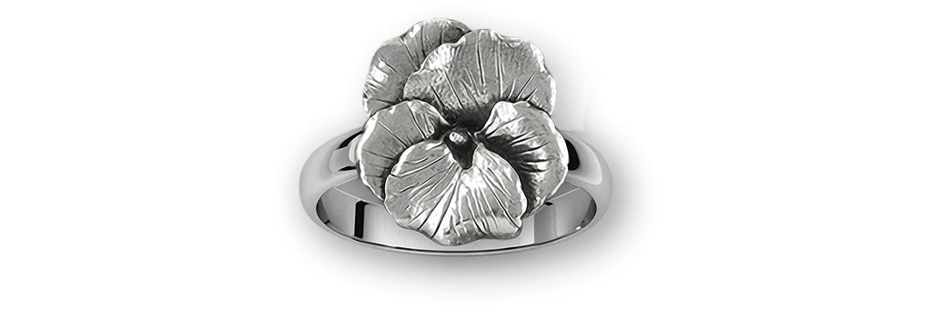 Pansy Charms Pansy Ring Sterling Silver Pansy Flower Jewelry Pansy jewelry