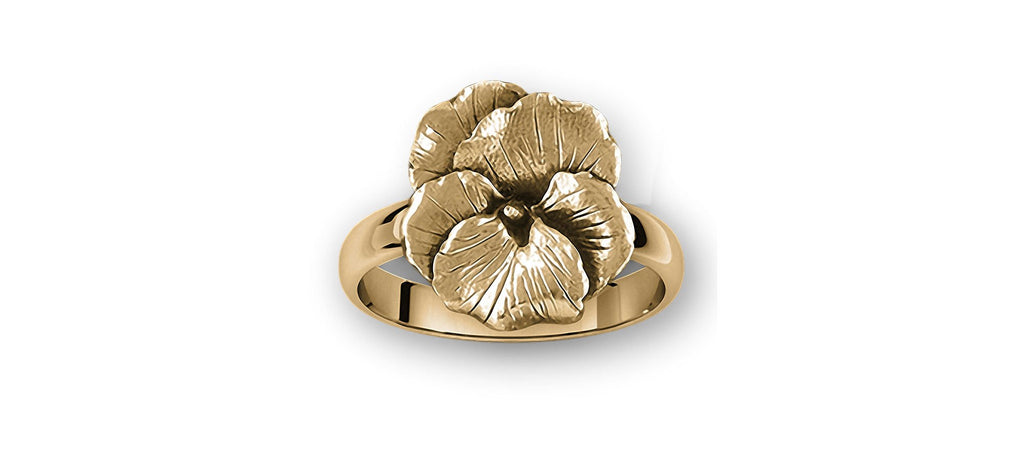 Pansy Charms Pansy Ring 14k Gold Pansy Flower Jewelry Pansy jewelry