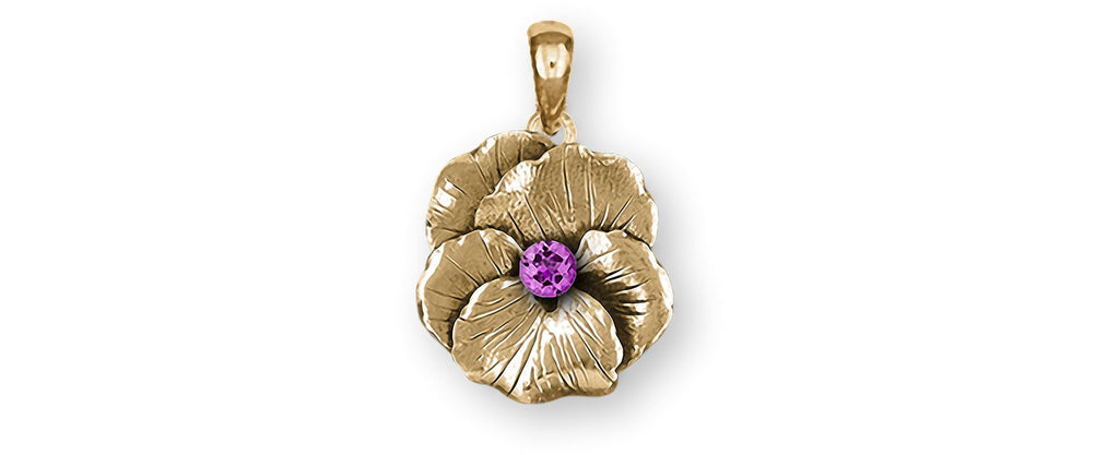 Pansy Birthstone Charms Pansy Birthstone Pendant With Birthstone 14k Gold Pansy Flower Jewelry Pansy Birthstone jewelry