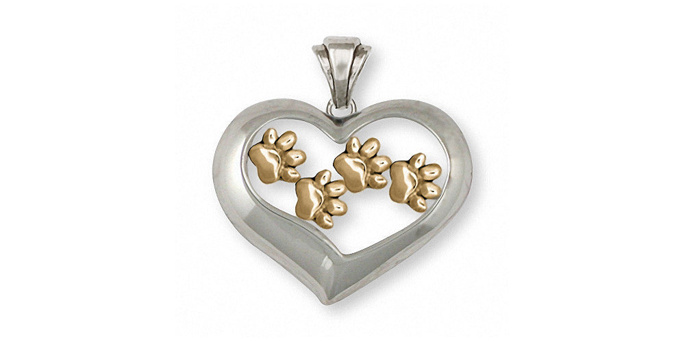 Dog Paw Charms Dog Paw Pendant Silver And Gold Dog Jewelry Dog Paw jewelry