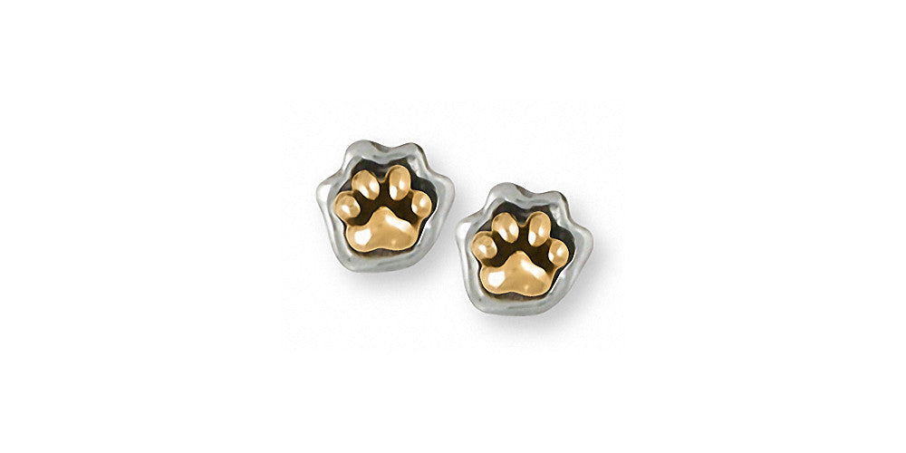 Dog Paw Charms Dog Paw Earrings Silver And Gold Dog Jewelry Dog Paw jewelry