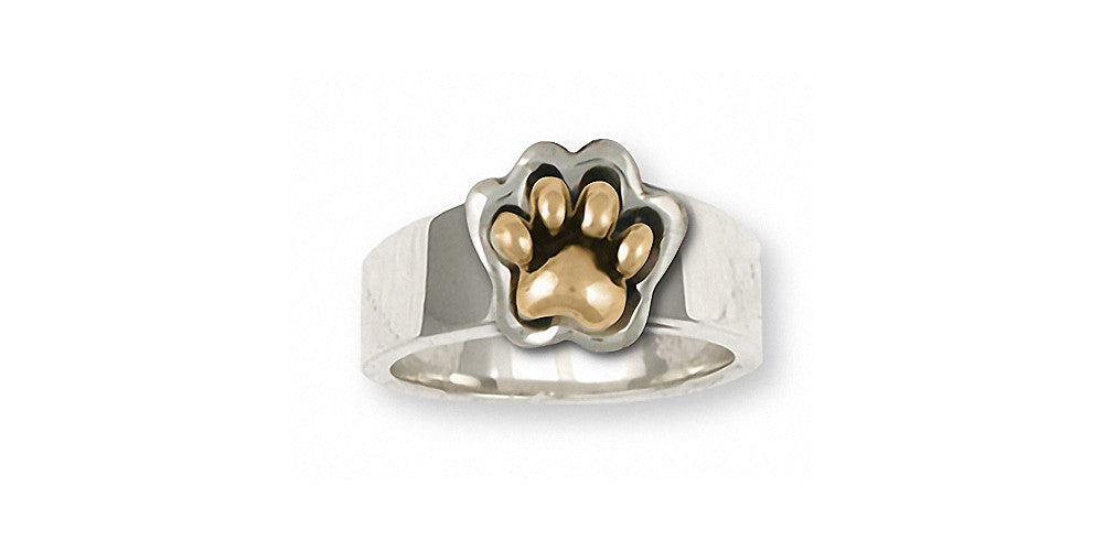 Dog Paw Charms Dog Paw Ring Silver And Gold Dog Jewelry Dog Paw jewelry