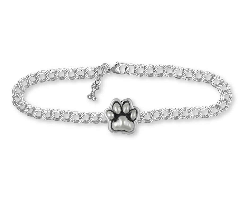 Dog Paw Charms Dog Paw Bracelet Sterling Silver Dog Jewelry Dog Paw jewelry