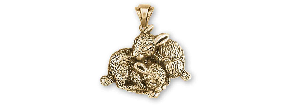 Rabbit Charms Rabbit Pendant 14k Yellow Gold Bunny Rabbit Jewelry Rabbit jewelry