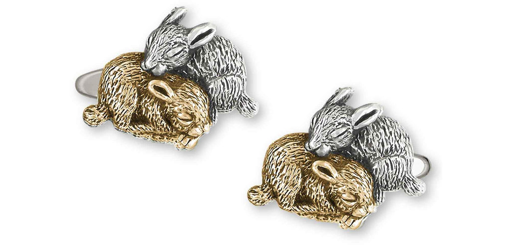 Rabbit Charms Rabbit Cufflinks Silver And 14k Gold Bunny Rabbit Jewelry Rabbit jewelry