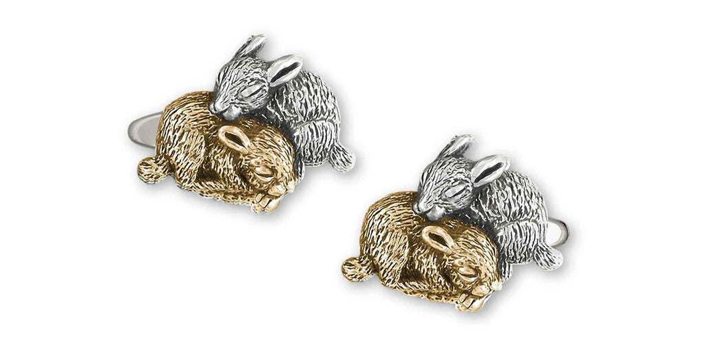 Rabbit Charms Rabbit Cufflinks 14k White And Yellow Gold Bunny Rabbit Jewelry Rabbit jewelry