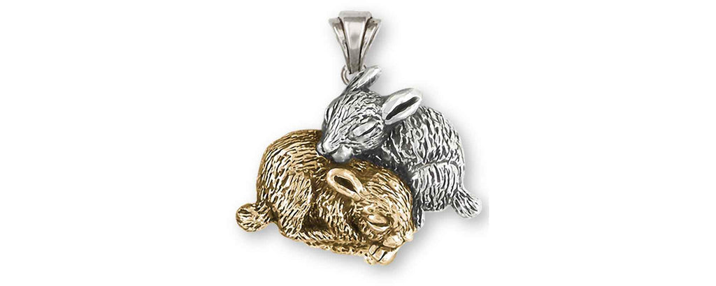 Rabbit Charms Rabbit Pendant Silver And 14k Gold Bunny Rabbit Jewelry Rabbit jewelry