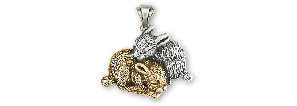 Rabbit Charms Rabbit Pendant 14k White And Yellow Gold Bunny Rabbit Jewelry Rabbit jewelry
