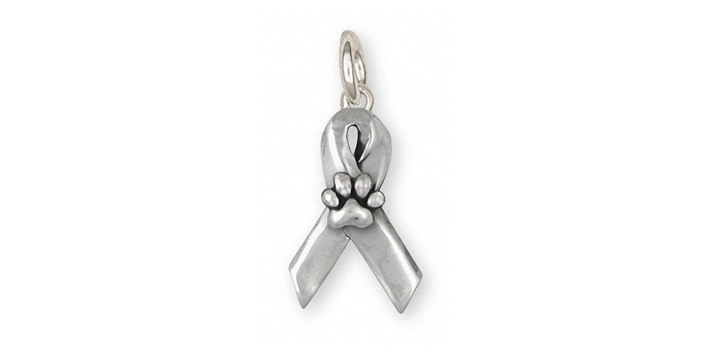 Dog Paw Charms Dog Paw Charm Sterling Silver Awareness Ribbon Jewelry Dog Paw jewelry