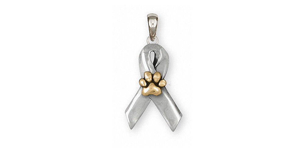 Dog Paw Charms Dog Paw Pendant Silver And Gold Awareness Ribbon Jewelry Dog Paw jewelry