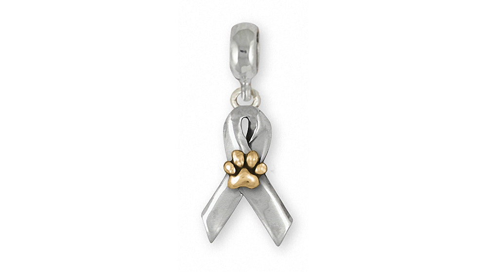 Dog Paw Charms Dog Paw Charm Slide Sterling Silver Awareness Ribbon Jewelry Dog Paw jewelry
