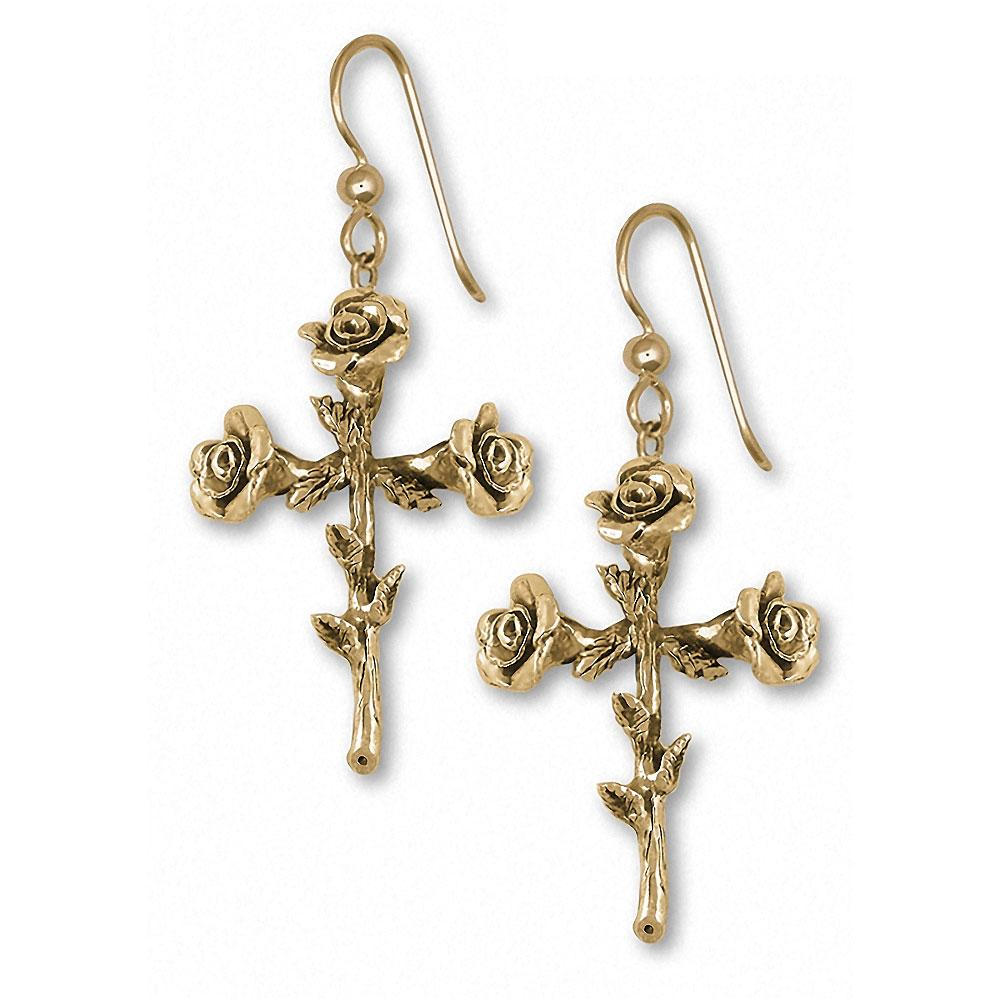 Rose Cross Charms Rose Cross Earrings 14k Gold Flower Jewelry Rose Cross jewelry