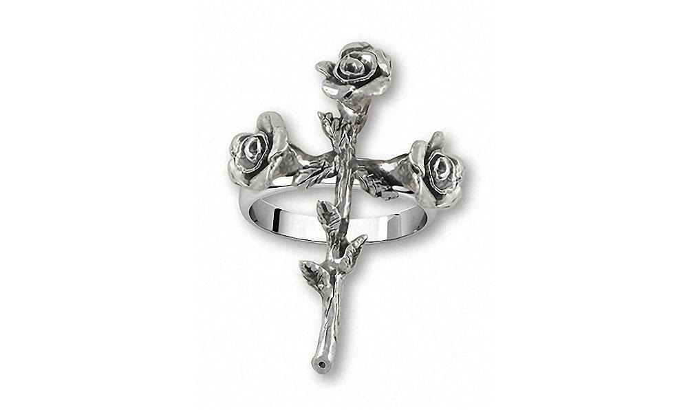 Rose Cross Charms Rose Cross Ring Sterling Silver Flower Jewelry Rose Cross jewelry