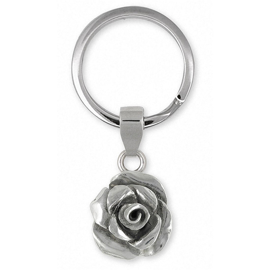 Rose Charms Rose Key Ring Sterling Silver Flower Jewelry Rose jewelry
