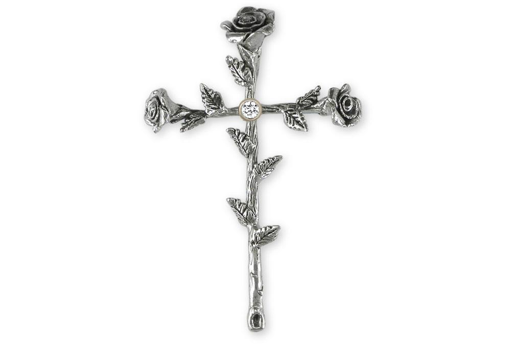 Birthstone Rose Cross Charms Birthstone Rose Cross Pendant Sterling Silver Flower Jewelry Birthstone Rose Cross jewelry