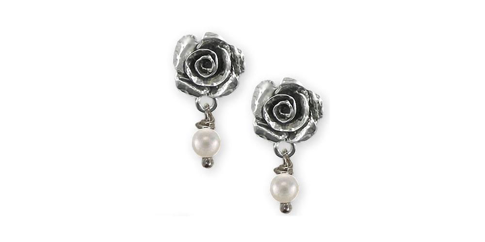 Rose Charms Rose Earrings Sterling Silver Flower Jewelry Rose jewelry