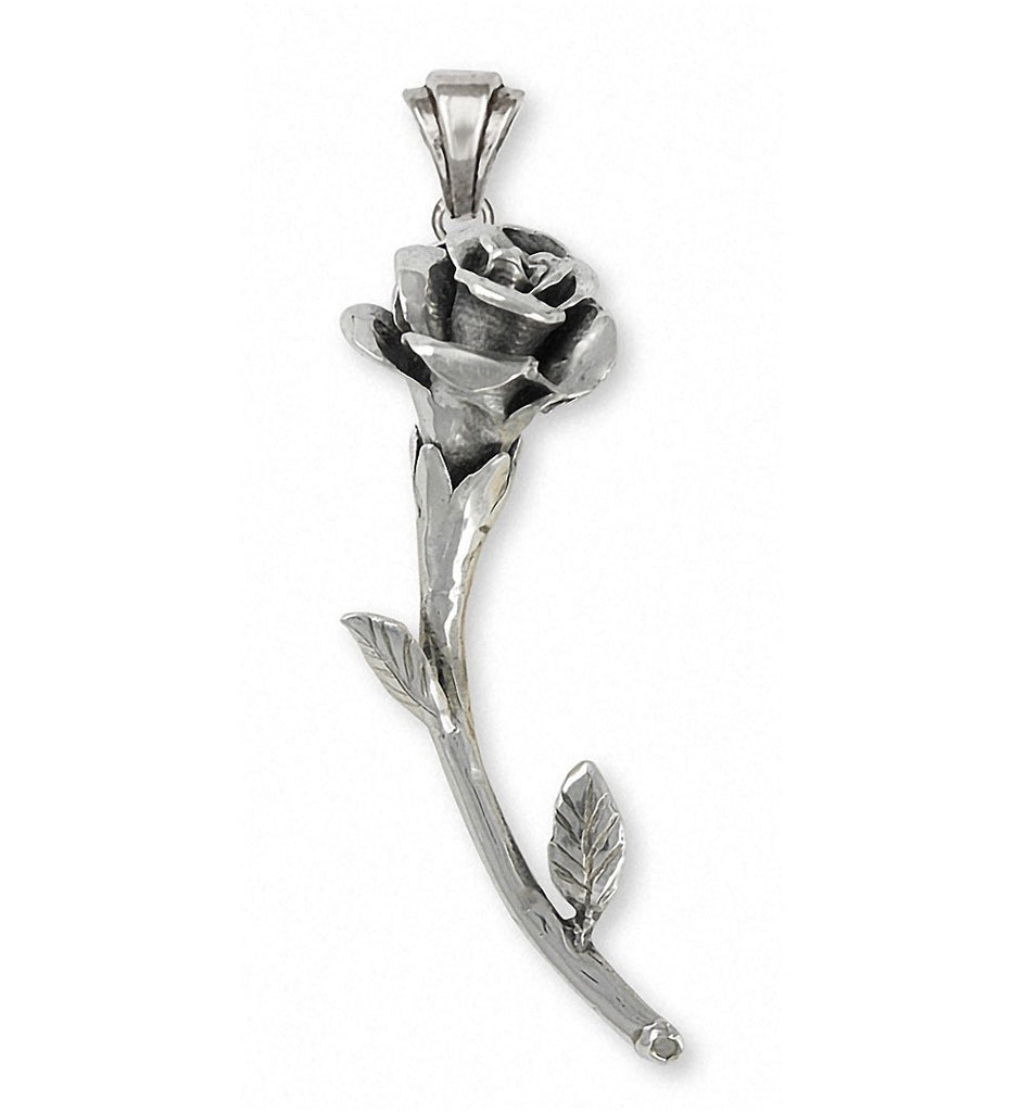 Rose Charms Rose Pendant Sterling Silver Flower Jewelry Rose jewelry