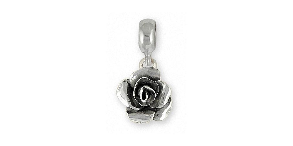 Rose Charms Rose Charm Slide Sterling Silver Flower Jewelry Rose jewelry