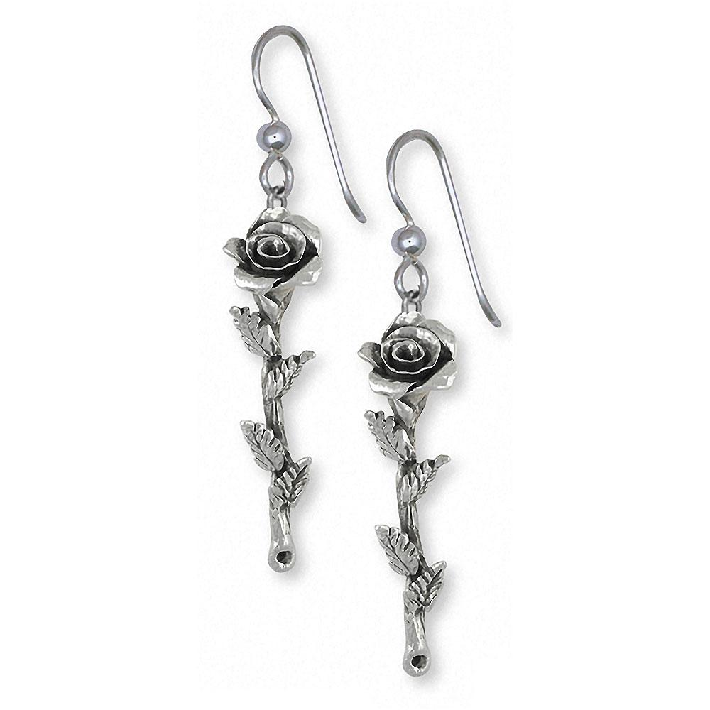 Long Stem Rose Charms Long Stem Rose Earrings Sterling Silver Flower Jewelry Long Stem Rose jewelry