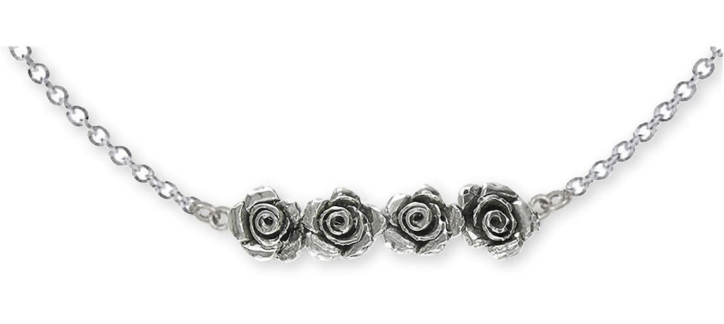 Rose Charms Rose Necklace Sterling Silver Flower Jewelry Rose jewelry