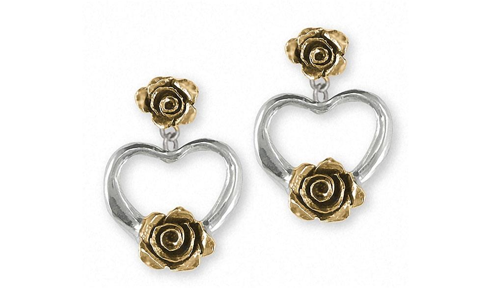 Rose Charms Rose Earrings Silver And 14k Gold Flower Jewelry Rose jewelry
