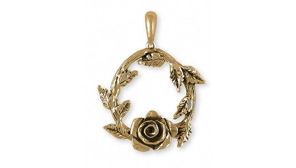 pin rose charm heart pendant puffy gold antique