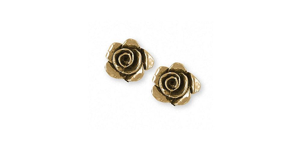Rose Charms Rose Earrings 14k Gold Flower Jewelry Rose jewelry