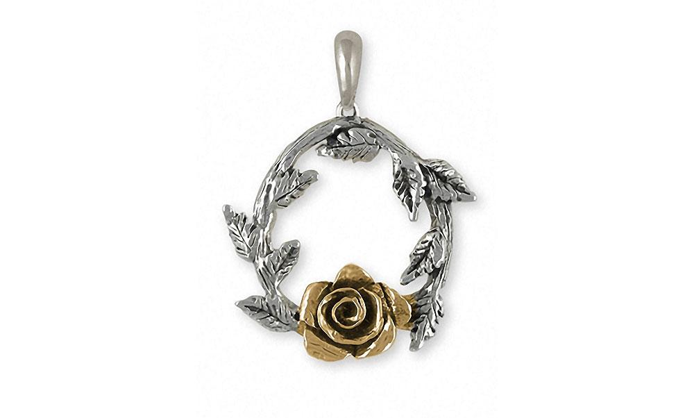 Rose Charms Rose Pendant Silver And 14k Gold Flower Jewelry Rose jewelry